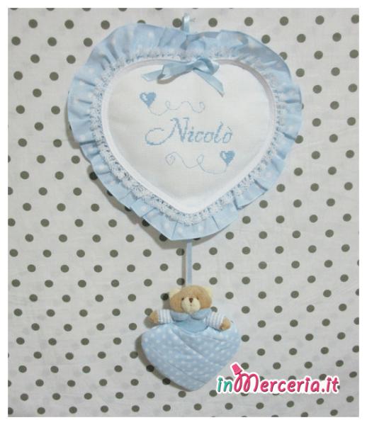 """Fiocco nascita cuore celeste pois con orsetto per """"Nicolò"""""""