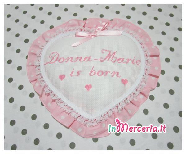 """Fiocco nascita cuore pois per """"Donna-Marie"""""""