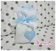 Sacchettini bomboniere portaconfetti bianchi con cuore e carrozzine per Giuseppe