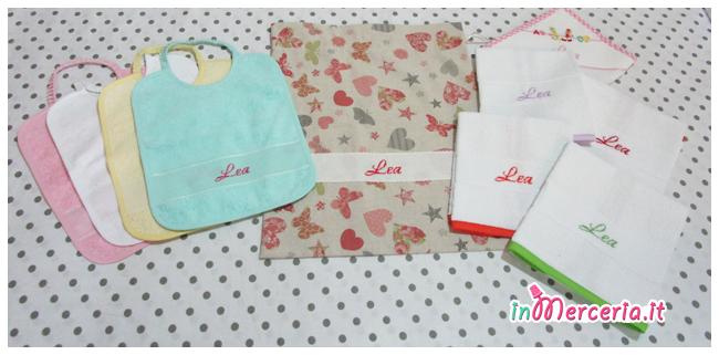Set asilo - Sacchetto, asciugamani e bavaglie per Lea
