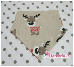 Bavette bandana natalizie con renna e pupazzi di Natale