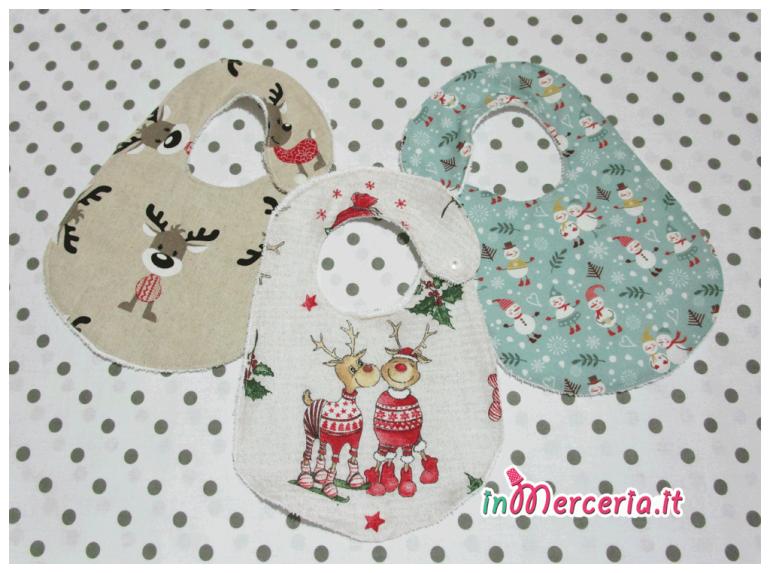 Bavette natalizie con renna e pupazzi di Natale