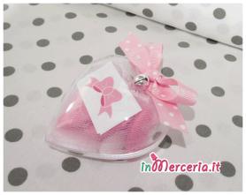 Cuore portaconfetti in plexiglass con fiocco rosa pois