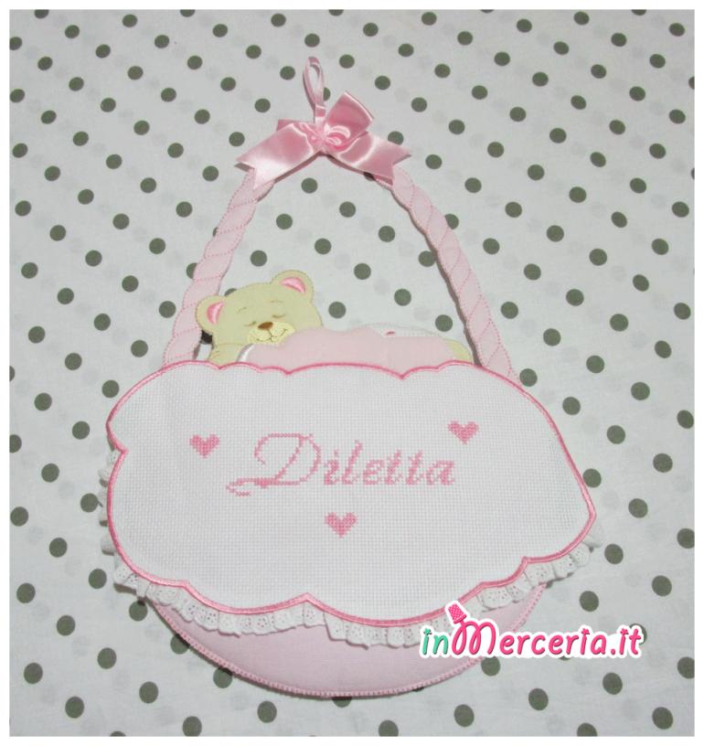Fiocco nascita cestino rosa per Diletta