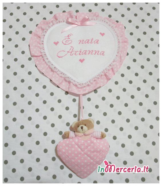 """Fiocco nascita cuore pois rosa con orsetto """"È nata Arianna"""""""