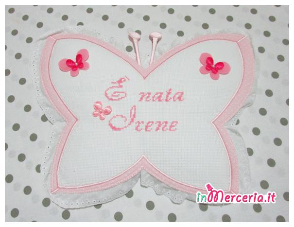 Fiocco nascita farfalla pois È nata Irene