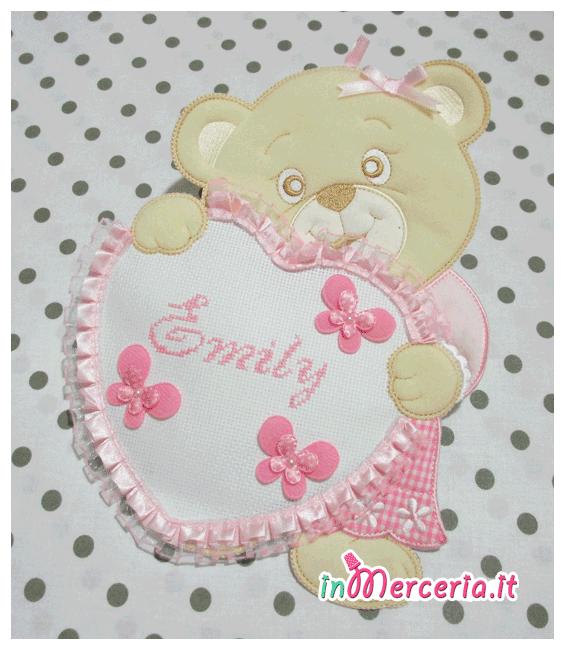 Fiocco nascita orsetto con cuore rosa per Emily