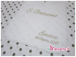 Camicina bavaglino e asciugamano battesimo in cotone per Emma