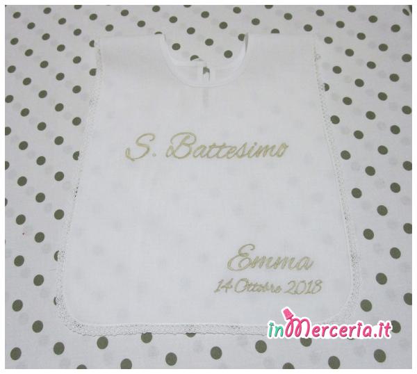 Camicina bavaglino e asciugamano battesimo in cotone per Emma1