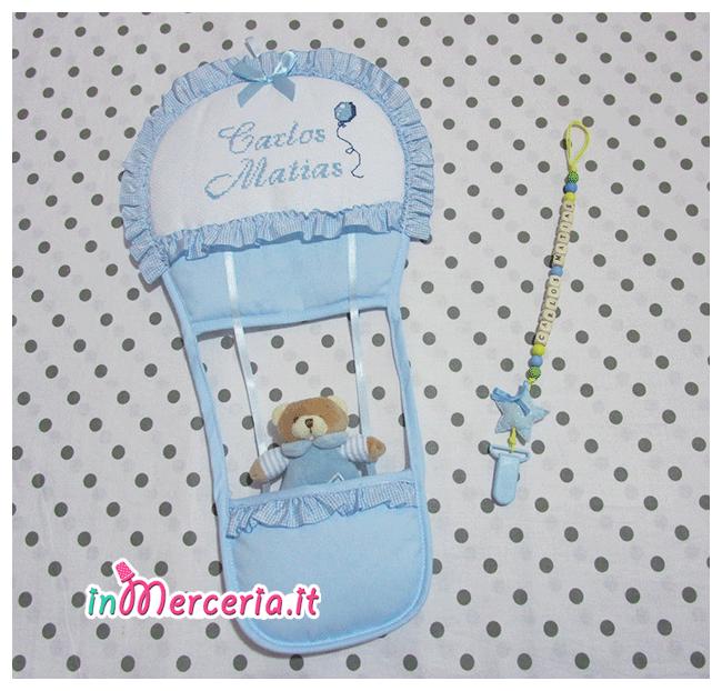 Fiocco nascita mongolfiera celeste e catenella portaciuccio con stella per Carlos Matias