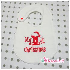"""Clip portaciuccio e bavaglia natalizia """"My first Christmas"""""""