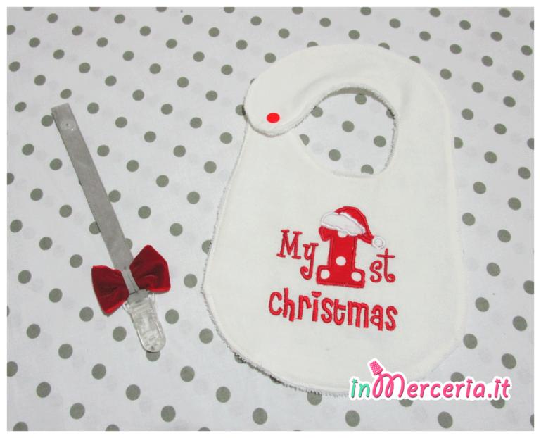 """Clip portaciuccio e bavglia natalizia """"My first Christmas"""""""