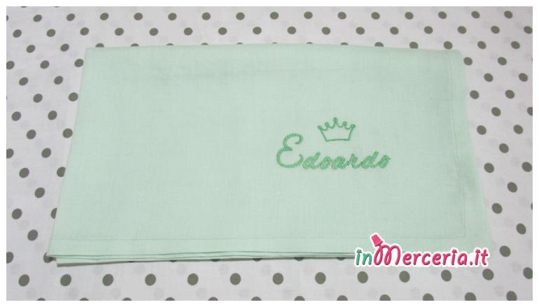 "Lenzuolino neonato con nome ""Edoardo"" e corona"