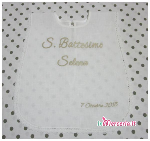 Camicina bavaglino e asciugamano battesimo in lino per Selena