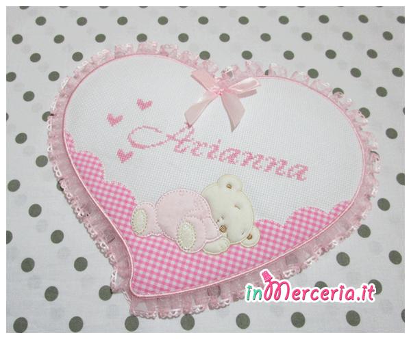 """Fiocco nascita cuore rosa per """"Arianna"""""""