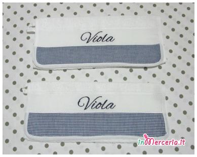 Coppia asciugamani asilo per Viola