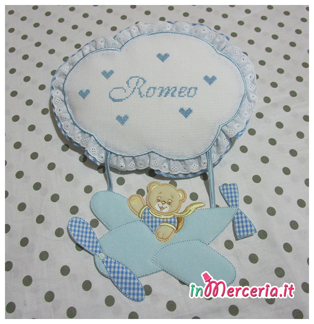 Fiocco nascita aeroplano celeste per Romeo