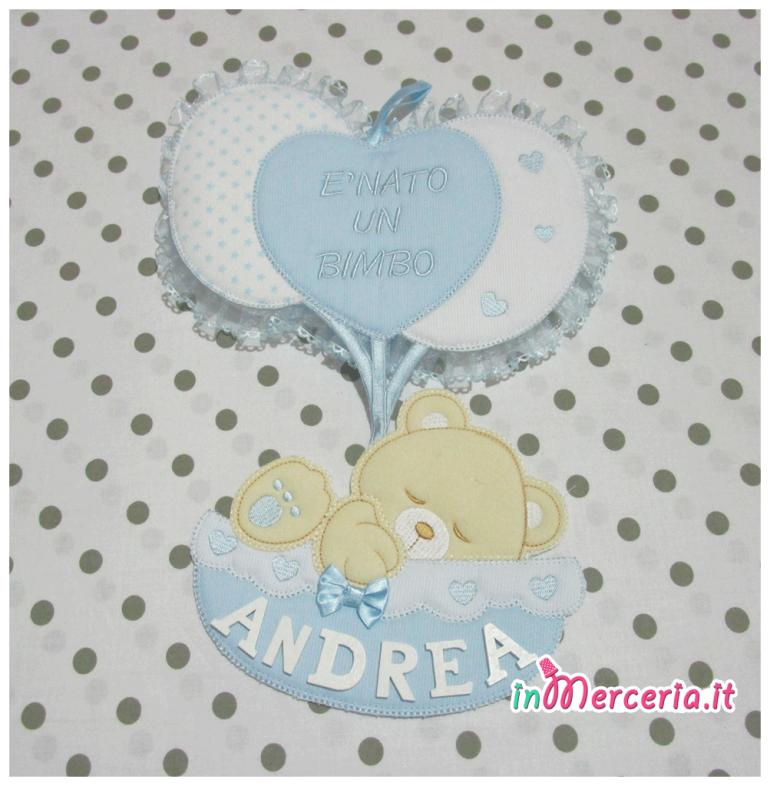 """Fiocco nascita con palloncini """"È nato un bimbo"""" per Andrea"""