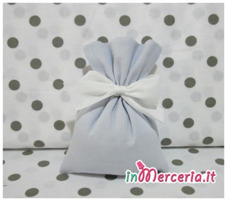 Sacchetti bomboniera portaconfetti celeste, bianco e grigio