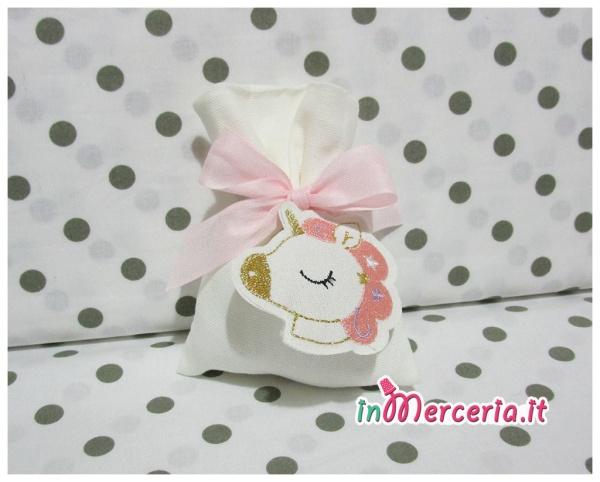Sacchetto bomboniera portaconfetti con unicorno