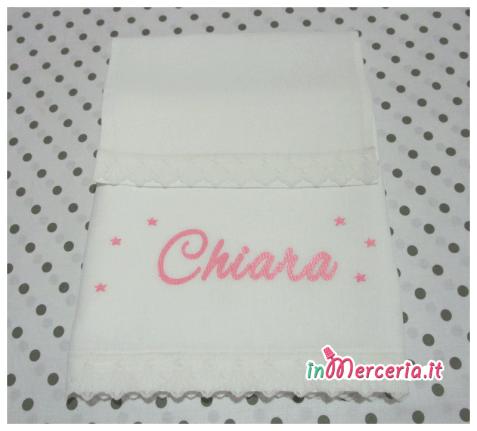 Set Lenzuolino neonato bianco con stelle per Chiara