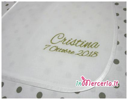 Camicina bavaglino battesimo in cotone per Cristina