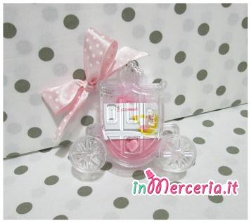 Carrozza portaconfetti plexiglass con fiocco rosa pois
