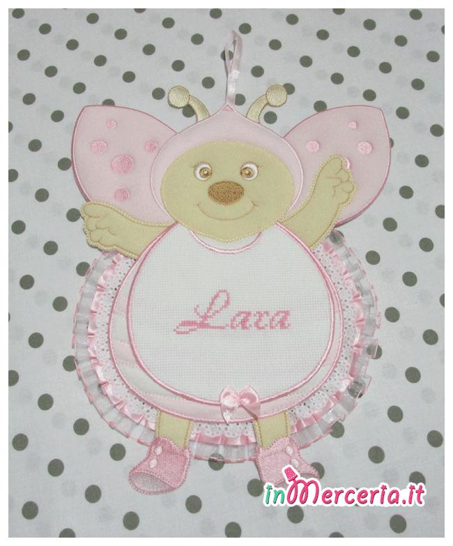 Fiocco nascita coccinella rosa per Lara