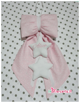 Fiocco nascita con stelle rosa per Alice