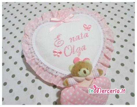 """Fiocco nascita cuore pois con orsetto """"È nata Olga"""""""