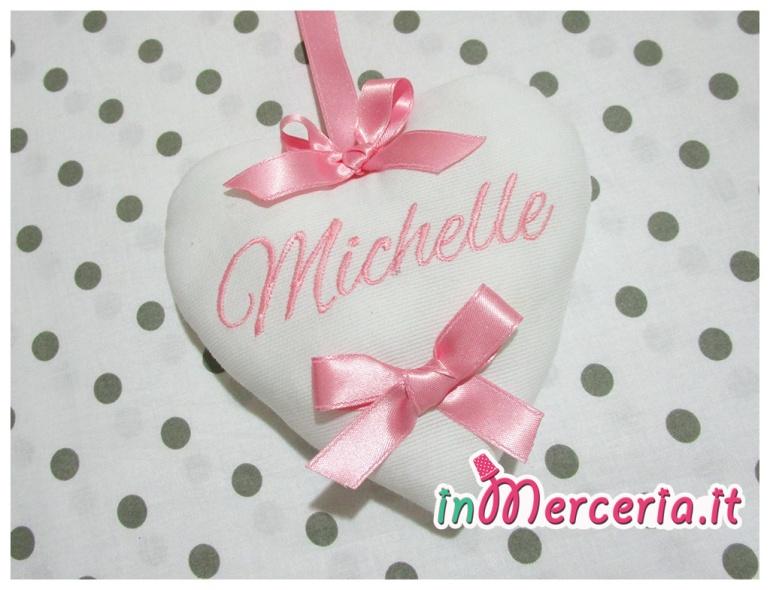 """Fiocco nascita rosa con palloncini """"È nata una bimba"""" con cuore pendente per Michelle"""