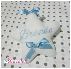 Fiocco nascita stella e Catenella portaciuccio con stella per Brando
