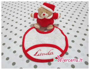 Set per nascita – Corredino con coperta in pile, sacchetto, fiocco nascita, bavette porta biberon e ciuccio, orsetto, beauty e doudou per Linda