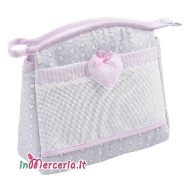 Busta portaoggetti con cuore rosa
