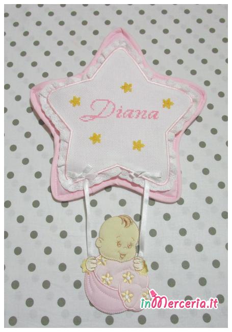 Fiocco nascita stella rosa per Diana