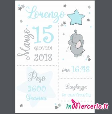 Poster quadretto nascita con elefante per Lorenzo