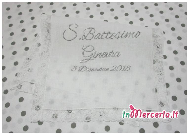 Camicina bavaglino e asciugamano battesimo in lino per Ginevra