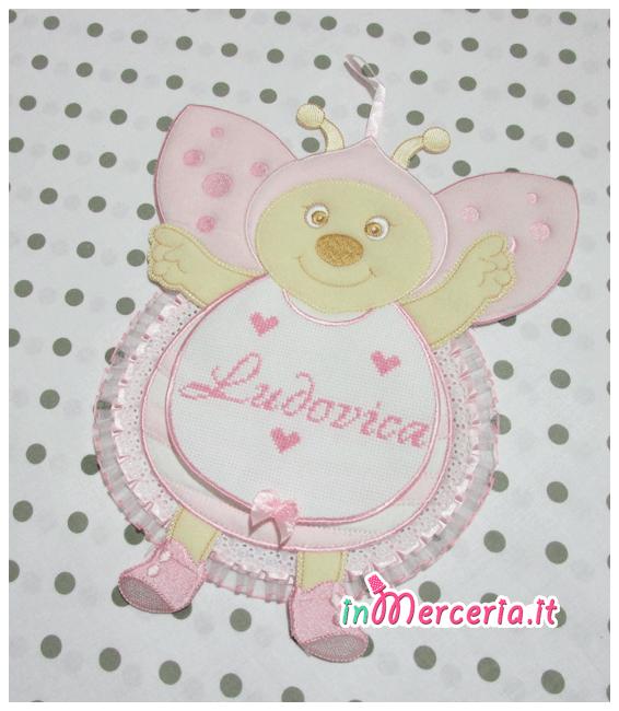 Fiocco nascita coccinella rosa per Ludovica