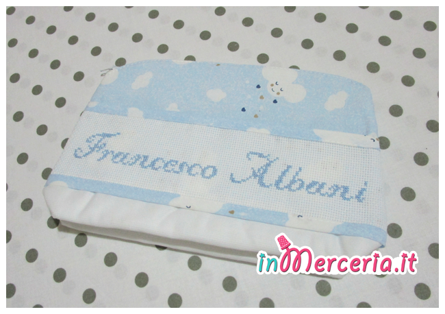 Set nascita - FIocco nascita cicogna, sacchetto e bustina portaoggetti per Francesco