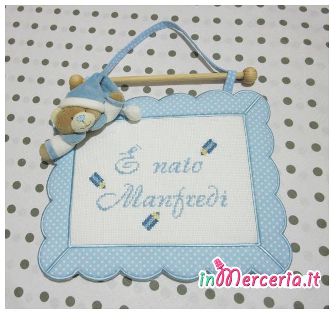 Set nascita - Fiocco nascita quadretto, bavetta e coordinato culla per Manfredi