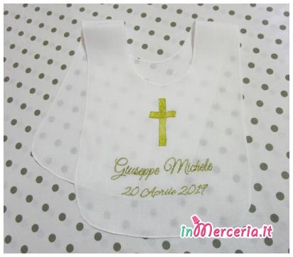 Bavaglino tunica battesimale in lino per Giuseppe Michele