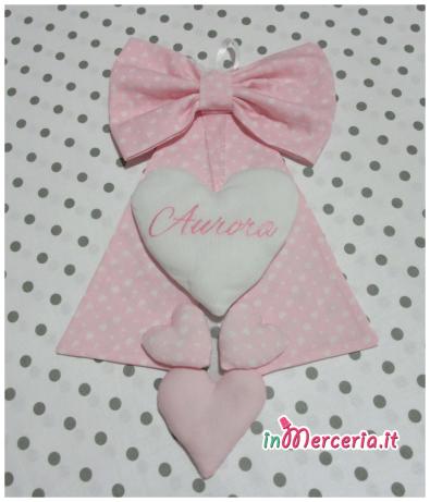 Fiocchi nascita rosa pois con cuori per Aurora
