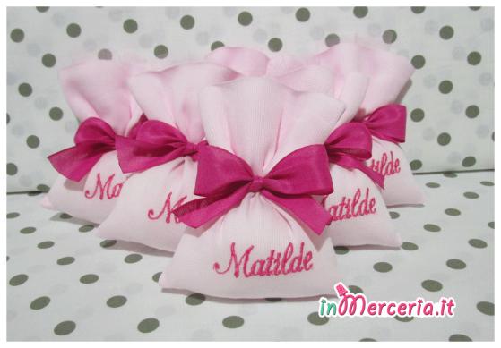 Sacchetti bomboniera portaconfetti con iniziale e nome Matilde