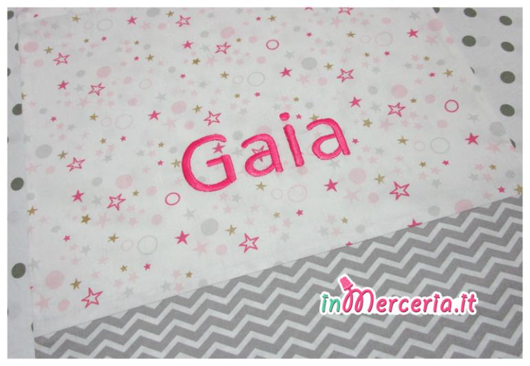 Sacchetto nascita e asilo bicolore con stelle e chevron per Gaia