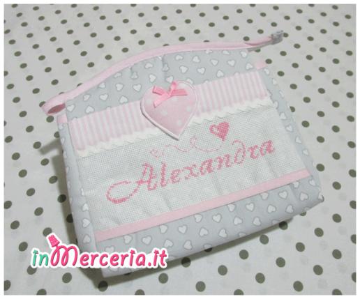 Set nascita - Sacco trapuntato, busta portaoggetti, copertina con stella e bavetta per Alexandra