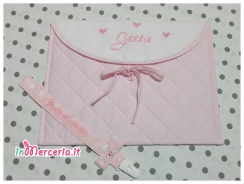 Busta porta oggetti rosa e clip porta ciuccio per Greta