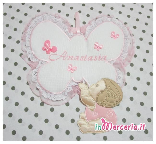 """Fiocco nascita farfalla rosa con bebè per """"Anastasia"""""""
