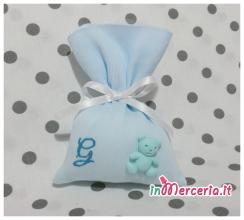 Sacchettino bomboniera portaconfetti con orsetto e iniziale del nome Gregorio