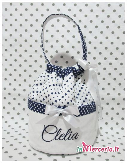 Sacco beauty blu pois con cuori nascita e asilo per Clelia