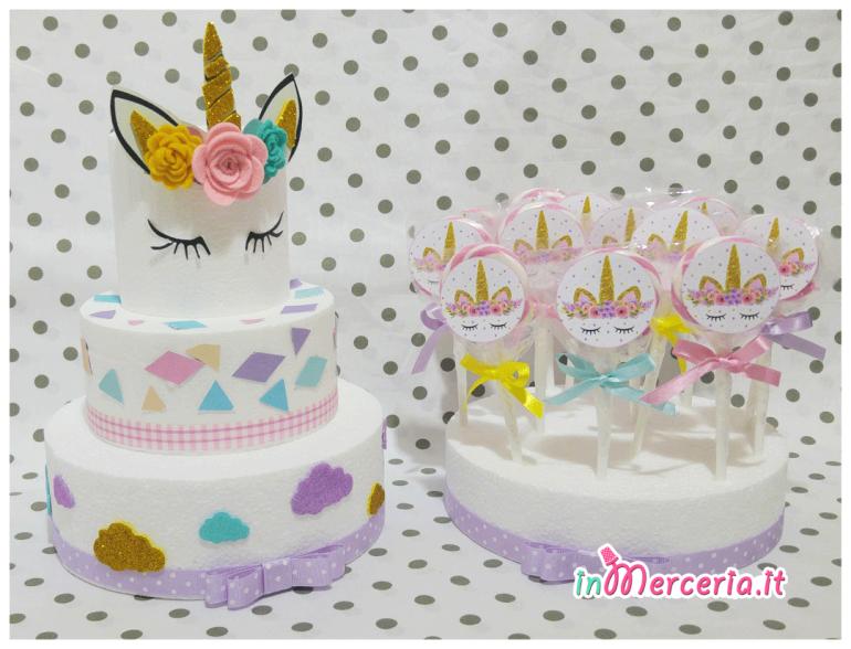 Torta e lecca lecca unicorno per compleanno
